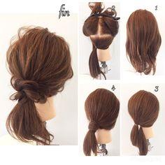 超簡単ヘアアレンジ 1、軽く巻く 2、耳下を結びます 3、耳上を2の近くで結びます 4、2の束を3の束に巻きつけて 全体的に崩して終了です!!! 2の束を三つ編みや四つ編みなどにしても おしゃれで可愛くなります(^^) ゴム二個とピン一個で出来ます(^^)