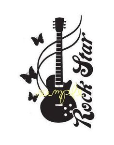 Rock Star GUITAR Butterfly DECAL  Walls Car Music by Coins4Sale, $18.99