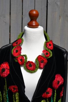 Necklace textile,  poppies, textile jewerly handmade, Colorful rope necklace, fiber necklace, Fiber bohemian jewelry, Gift womens