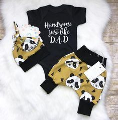 Organic Coming Home Baby Boy Outfit Newborn Boy Clothes Handsome just like Dad Panda Outfit Mustard Outfit Harem Leggings 4 Year Boy Clothes, Newborn Boy Clothes, Baby Boy Newborn, Baby Boy Outfits, Outfits For Teens, Baby Fur Vest, Panda Outfit, Baby Boy Quotes, Newborn Coming Home Outfit