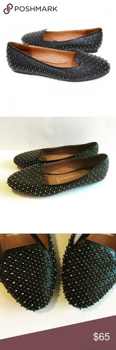 """Jeffrey Campbell Spike Stud 'Martini' Flats size 9 Studded loafer Synthetic leather upper Leather lining Man-made sole 1/4"""" heel  These shoes run true. Jeffrey Campbell Shoes Flats & Loafers"""