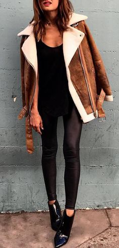 cute outfit | brown jacket + top + black skinnies + boots