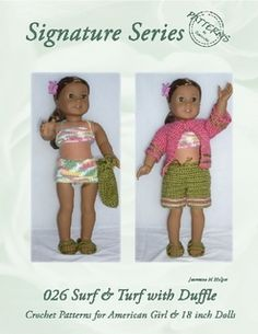 026 Surf and Turf with Duffle for Crochet Pattern for American Girl and other 18 inch dolls