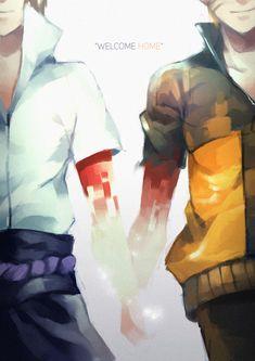 Sasuke and Naruto #blood #holdinghands