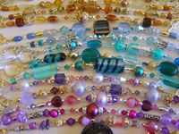 Crystals and Glass Beads in shades of brown, pink purple and blue
