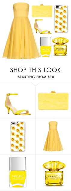 """Untitled #11"" by asha-stevens ❤ liked on Polyvore featuring Nine West, Edie Parker, Casetify, Alexander McQueen, Nails Inc. and Versace"