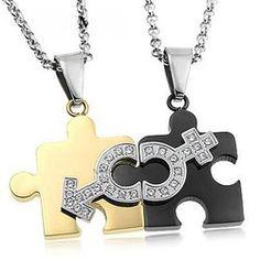 316L Titanium Steel Jigsaw Couple Necklace