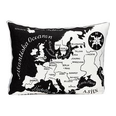 Cushion, Josef Frank's World Map pattern, designed in 1939 World Map Fabric, European Map, Josef Frank, Room Of One's Own, Map Globe, Black White Art, Fluffy Pillows, Magic Carpet, Soft Furnishings