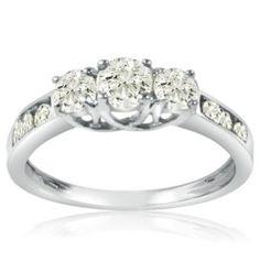 1ct tw Three Stone Plus Diamond Ring set in 10K White Gold ( Available sizes 5-8)-1