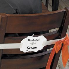 Personalized Bride and Groom Paper Chair Markers Wedding Chair Decorations, Wedding Chairs, Markers, Groom, Bride, Paper, Design, Style, Wedding Bride