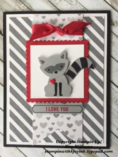 Valentine card idea. Kim Williams, stampinwithkjoyink.typepad.com. Pink Pineapple paper crafts. Stampin Up Foxy Friends stamp set bundle using the raccoon image. Great card idea for Valentines Day. Handmade all stampin up products.