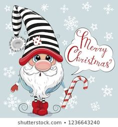 Cute Cartoon Gnome on a blue background. Greeting Christmas card Cute Cartoon Gnome on a blue background vector illustration Christmas Rock, Christmas Gnome, Christmas Crafts, Merry Christmas, Christmas Decorations, Christmas Ornaments, Christmas Drawing, Christmas Paintings, Watercolor Christmas