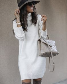 Women High Collar Sweater Dress Long Sleeve Knit Sweters - Khaki Dresses - Ideas of Khaki Dresses Long Sweater Dress, Jumper Dress, Sweater Dresses, White Turtleneck Dress, Long Sweater Outfits, Dress Long, Khaki Dress, White Casual, Dress First