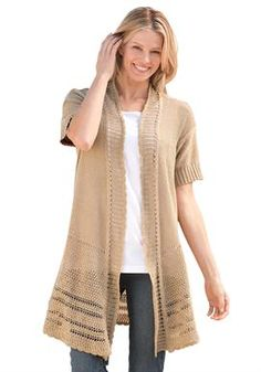 Sweater, cardigan style with pointelle patterns, rib trim, open front | Plus Size Sweaters | Woman Within