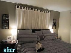 """LOVE this """"headboard"""" curtain idea!"""