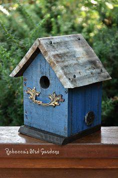 Blue Rustic Birdhouse The Cabin Unique