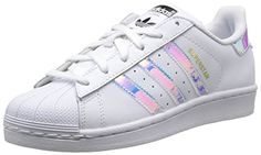 The Stan Smith story gets reworked in this Stan Smith J shoe sized for  junior girls. adidas Originals Stan Smith J White Iridescent Leather Youth. 88d8002fd