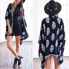 New Retro Boho Floral Hippie Cardigan Coat Blouse Kimono Cape Blazer Jacket Tops