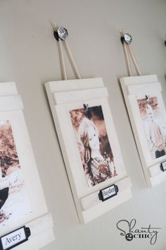 Look at the shiny, fun way to hang picture frames seen on Shanty 2 Chic. The decorative acrylic hooks you see were designed by the bloggers at Young House Love just for this purpose. Check out Shanty 2 Chic's simple tutorial for the  frames. || @shanty2chic