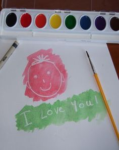 "Write your ""secret"" message in white crayon and watch your child have fun painting over it to find out what it says."