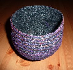 Coiled and Stitched VHS Tape Bowl https://www.facebook.com/WarpedTextiles