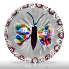 Antique Baccarat millefiori butterfly garland paperweight.