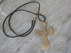 Upcycled Spoon Cross Necklace Stamped www.laughingfrogstudio.etsy.com $20.00