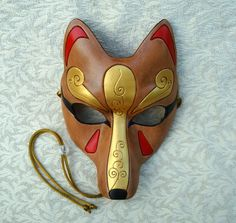 Brown and Gold Kitsune Mask... Handmade Leather Japanese Fox Mask. $100.00, via Etsy.