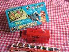 Vintage funland projector met 70 kleurenplaatjes in originele doos. Werkt op batterijen. Niet getest. In nette staat. De opbrengst gaat naar dierentehuis de hof van ede te ede. Elke vrijdag verkoop