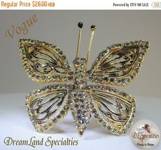 SALE 30 Vogue Shimmering Butterfly Brooch by DLSpecialties on Etsy