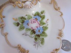 Hand Painted Victorian Milk Glass Heart by LeapingFrogDesigns