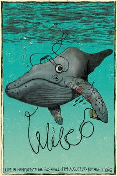 Wilco art by Mike Forester. Tattooed whale wearing headphones: I want to be… Rock Posters, Band Posters, Concert Posters, Music Posters, Music Illustration, Graphic Design Illustration, Graphic Art, Poster Fonts, Gig Poster
