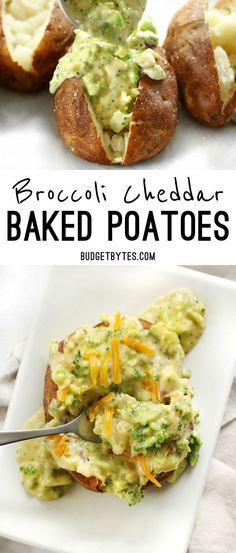 Broccoli Cheddar Baked Potatoes are an easy vegetarian dinner that uses simple ingredients to make a filling and flavorful meal. @budgetbytes
