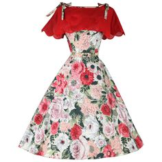 Vintage 1950's Rhinestone Floral Dress and Caplet | From a collection of rare vintage evening dresses at https://www.1stdibs.com/fashion/clothing/evening-dresses/