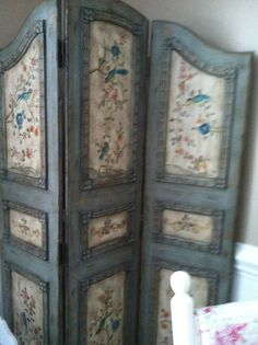 Fancy: A lightly distressed dressing screen used in my family room, cool accent piece