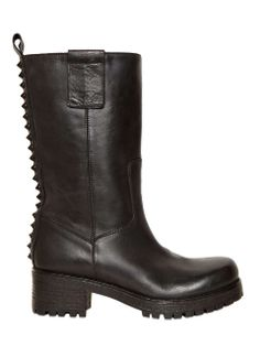 Love the LUISAVIAROMA 50MM STUDDED CALFSKIN BIKER BOOTS on Wantering | In Those Boots | womens black leather biker boots | womens style | womens fashion | wantering http://www.wantering.com/womens-clothing-item/50mm-studded-calfskin-biker-boots/agE2P/