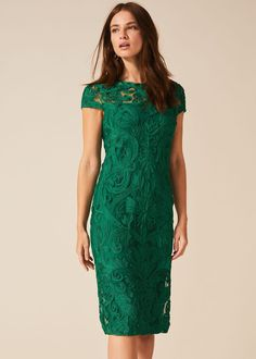 Buy Phase Eight Women's Green Chantal Tapework Lace Dress. Similar products also available. Green Dress Casual, Casual Dresses, Occasion Wear, Occasion Dresses, Phase Eight Dresses, Designer Jumpsuits, Dress Shapes, Flare Dress, Knit Dress