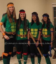 Cool Homemade Ninja Turtles Costume for a Group of Girls