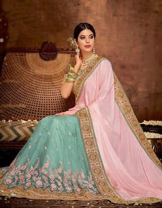 Pink and Sky Blue Two tone silk saree with Resham work and Heavy Border blouse with pretty embroidery work. Best for engagement and party occasions.Try out today at best prices Indian Wedding Outfits, Indian Outfits, Indian Clothes, Indian Dresses For Women, Pastel Pink Weddings, Engagement Saree, Aqua Blue Color, Saree Wedding, Bridal Sarees