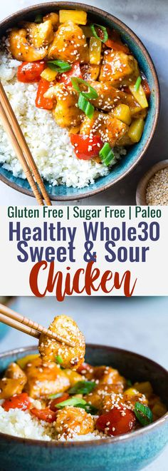 Recipes Snacks Sweet Gluten Free Sweet and Sour Chicken - This paleo friendly, healthy sweet and sour chicken is so easy to make and tastes better than takeout and is WAY better for you! It's sugar/grain/gluten/dairy/egg free too! Dairy Free Bread, Dairy Free Snacks, Dairy Free Breakfasts, Dairy Free Diet, Gluten Dairy Free, Egg Free Recipes, Gluten Free Recipes For Dinner, Whole Food Recipes, Healthy Recipes