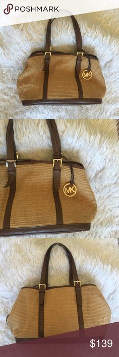 "Michael Kors straw handbag Michael Kors straw handbag.. super cute for summer with leather details..  measurements 16""x 9"" strap drop 8.5"" Michael Kors Bags Shoulder Bags"