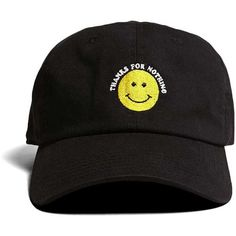 Forever21 HatBeast Happy Face Cap ($18) ❤ liked on Polyvore featuring men's fashion, men's accessories, men's hats, brimmed hat, cap hats, embroidery hats, embroidery caps and brim cap