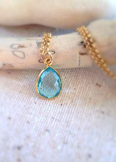 Hello Summer Sale , Bright Aqua Topaz Necklace by Aina Kai Jewelry ~ Maui, Hawaii ~ Etsy