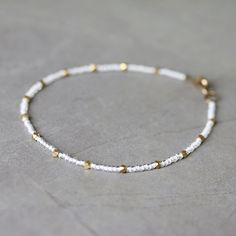 White Seed Bead and Raw Brass Beaded Anklet by YuniDesigns on Etsy