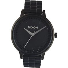 Nixon The Kensington Watch (€155) ❤ liked on Polyvore featuring jewelry, watches, accessories, bracelets, black, nixon bracelet, black stainless steel watches, nixon watches, bracelet watches and black bracelet