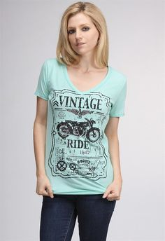 MotoChic Vintage Ride in Mint.  Soft V-neck burnout graphic tee with crystal & stud embellishments.