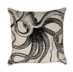 Pillow Cover with Black Ink Octopus - Coastal Pillow Cover - Cotton Duck Natural Throw Pillow Cover