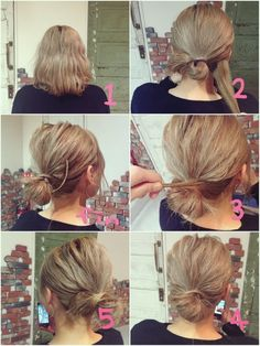 Wavy Chignon - 40 Chic Chignon Buns That Bring the Class into Formal and Casual Looks - The Trending Hairstyle Short Hair Bun, Very Short Hair, Short Hair Styles Easy, Medium Hair Styles, Curly Hair Styles, Work Hairstyles, Undercut Hairstyles, Pretty Hairstyles, Hairstyles Videos