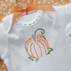 Items similar to Plump Pumpkin - Hand Embroidered Bodysuit by Cornflower Creations (made to order any size) on Etsy Hand Embroidery Design Patterns, Baby Embroidery, Vintage Embroidery, Cross Stitch Embroidery, Stitch Patterns, Heirloom Sewing, Baby Sewing, Hand Stitching, Just In Case