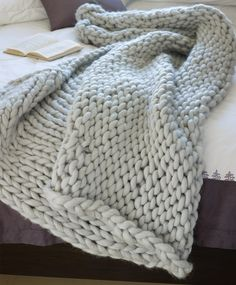 wool blanket- made if i can ever find quality inexpensive yarn Chunky Knit Throw, Chunky Yarn, Chunky Knits, Chunky Blanket, Thick Yarn, Wool Blanket, Knitting Projects, Crochet Projects, Knitting Patterns